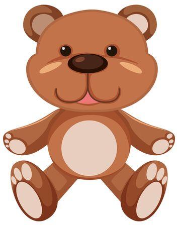 Brown teddy bear on white background illustration