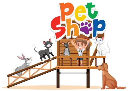 Pet shop sign with girl and many animals illustration 向量圖像