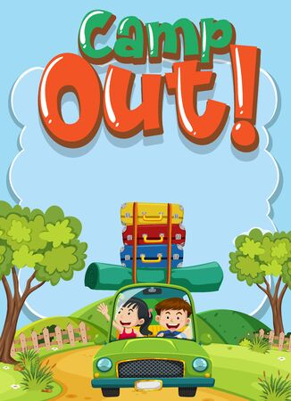 Font design for word camp out with kids driving in the park illustration