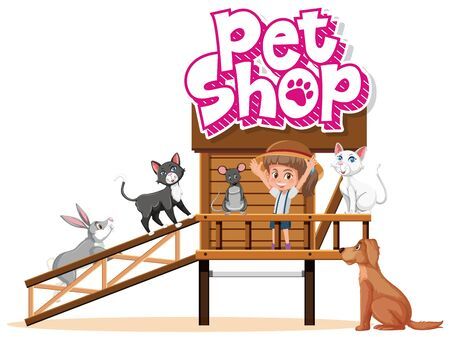 Font design for pet shop with many animals and girl at home illustration