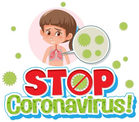 Girl with stop Coronavirus sign illustration