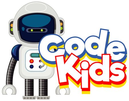 Font design template for word code kids with small robot illustration