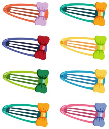 Set of hair barrettes in different color on white background illustration