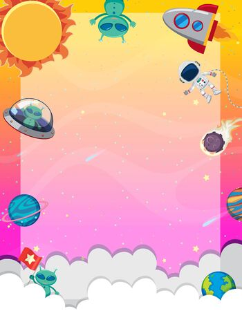 Frame template with many planets in the space background illustration Illustration