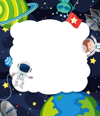 Frame template with astronaut flying in the space background illustration Ilustração