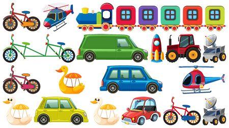 Big set of different types of transportation on white background illustration