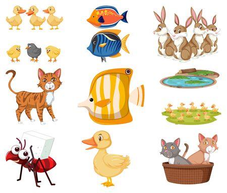 Large set different toys on white background illustration