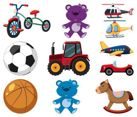 Large set of different toys on white background illustration