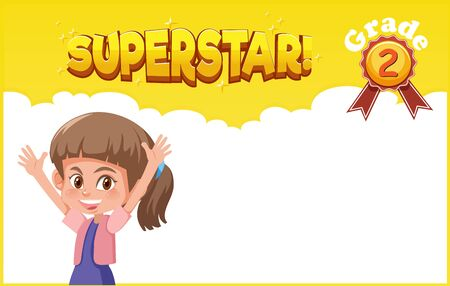 Background template design with happy girl and word superstar illustration Vecteurs
