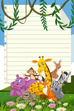 Border template design with many wild animals in background illustration