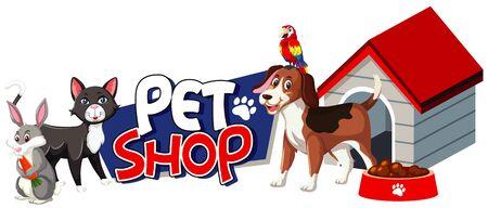 Font design for pet shop with many cute animals illustration Vecteurs