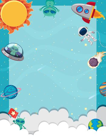 Frame template with many planets in the space background illustration Ilustração