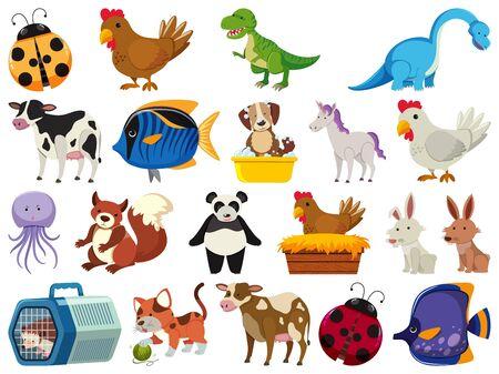 Set of cute animals on white background illustration 向量圖像