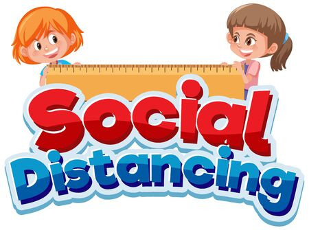 Font design for phrase social distancing with two happy girls illustration