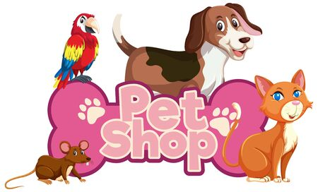 Font design for word pet shop with many animals illustration
