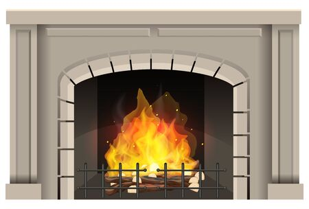 Fireplace with hot fire inside on white background illustration