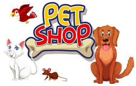 Font design for pet shop with many cute animals illustration Vector Illustration