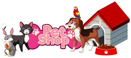 Font design for pet shop with many cute animals illustration