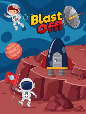 Poster design with astronauts flying in the space illustration