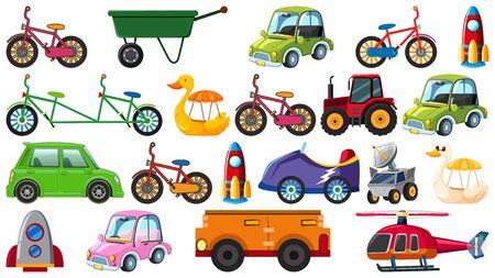 Set of different types of transportation on white background illustration 向量圖像