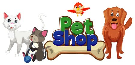 Font design for pet shop with many cute animals illustration 向量圖像