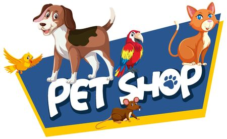 Font design template for word pet shop with many animals illustration 向量圖像