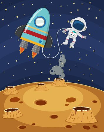 Scene with astronaut and spaceship flying in the space illustration Ilustração