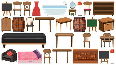 Big set of wooden furnitures on white background illustration