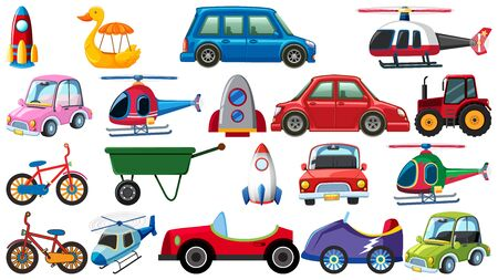 Set of different types of transportations on white background illustration