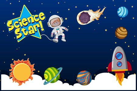 Background design with astronaut and many planets in solar system illustration