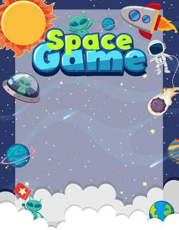 Frame template with many planets in the space background illustration 向量圖像