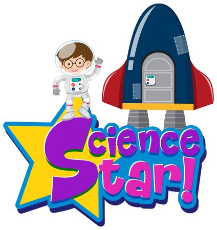 Font design for science star with astronaut and spaceship illustration