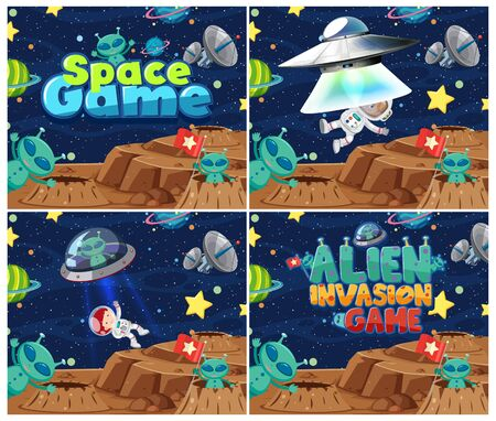 Four background design with aliens and many planets in space illustration Ilustração