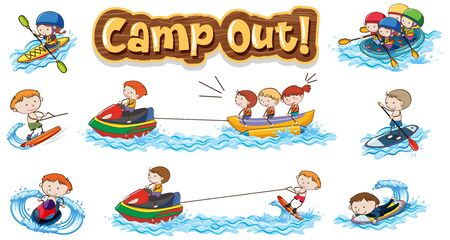 Font design for word camp out with kids doing water sports illustration 向量圖像