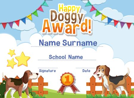 Certificate template design for happy doggy award with cute dogs in the park illustration Vektoros illusztráció