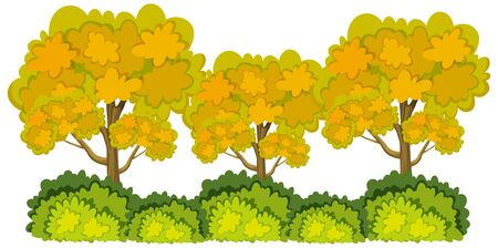 Three big threes with yellow leaves on white background illustration