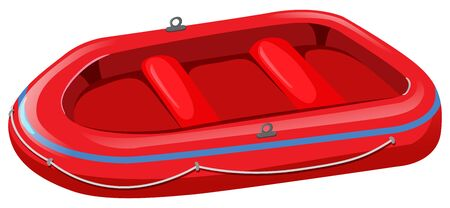 Red rubber boat on white background illustration