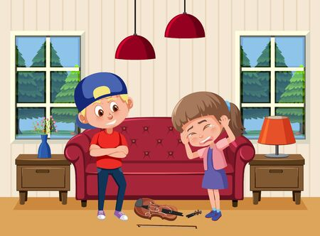 Scene with kid bullying their friend at home illustration