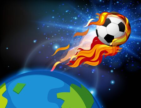 Football on fire shooting out of the earth illustration