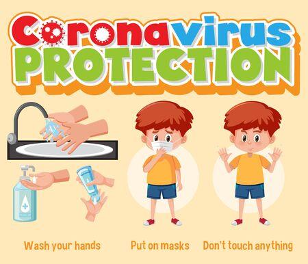 Clean hands protect corona virus illustration Vettoriali