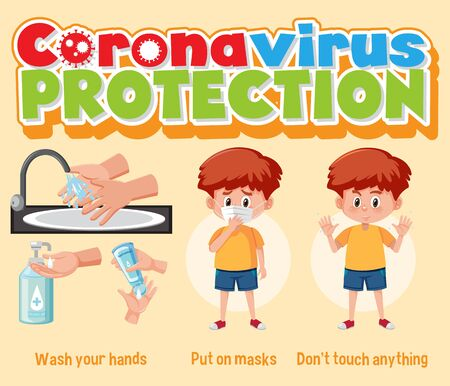 Clean hands protect corona virus illustration