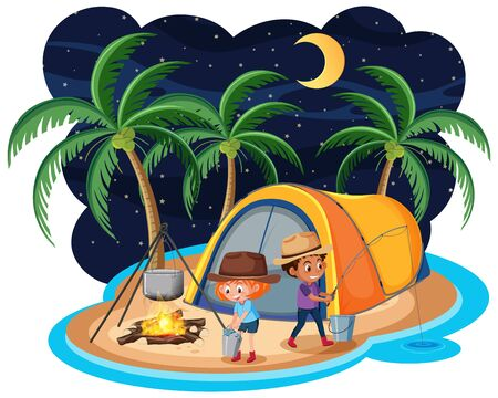 Scene with two kids camping out on the island at night illustration Vecteurs