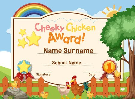 Certificate template for cheeky chicken award with chickens in the field illustration Vectores