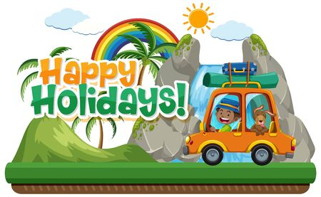 Poster design for happy holidays with man and dog in the car illustration