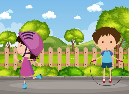 Background scene with two kids in the park illustration