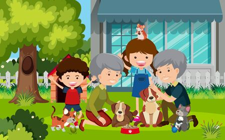Scene with grandparents and children in the yard illustration