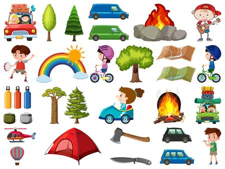 Set of people doing different activities on white background illustration Vectores