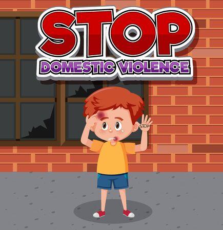 Stop domestic violence font design with sad boy standing alone illustration