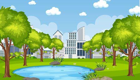 Scena tła z budynkiem miejskim i stawem na ilustracji parku Ilustracje wektorowe