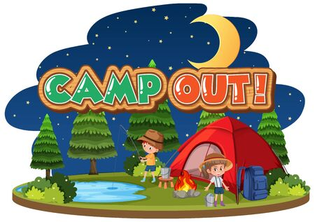 Conception de polices pour camper avec tente dans l'illustration du parc Vecteurs